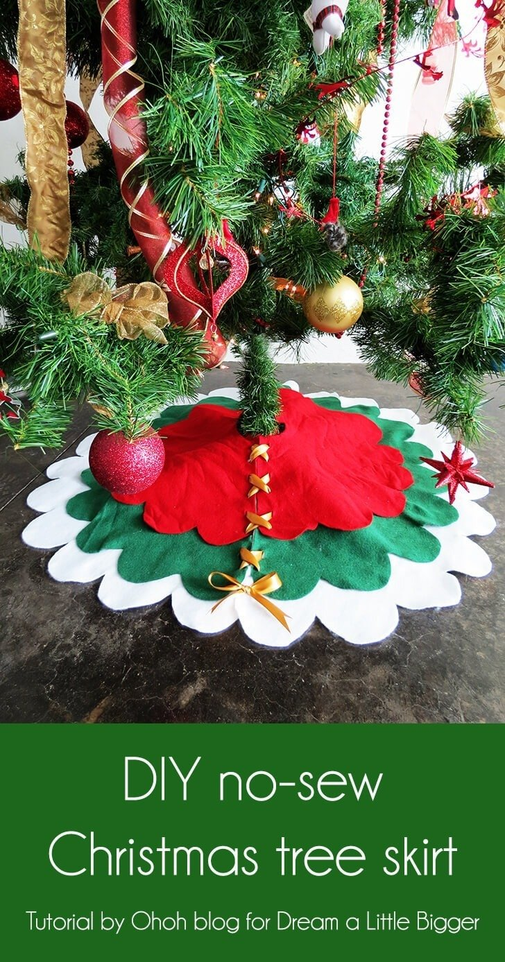 How To Make A No Sew Christmas Tree Skirt Dream A Little