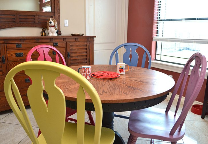 colorful kitchen chairs backsplashes table makeover dream a little bigger have worn out in need of bit facelift this
