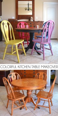 Colorful Kitchen Table Makeover - Dream a Little Bigger