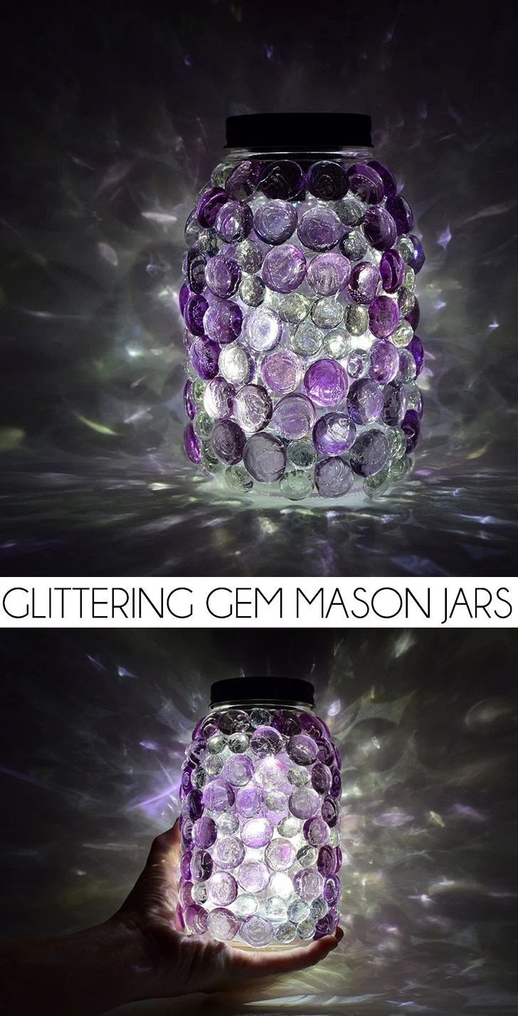Glittering Gem Mason Jars with DIY Solar Lids  Dream a