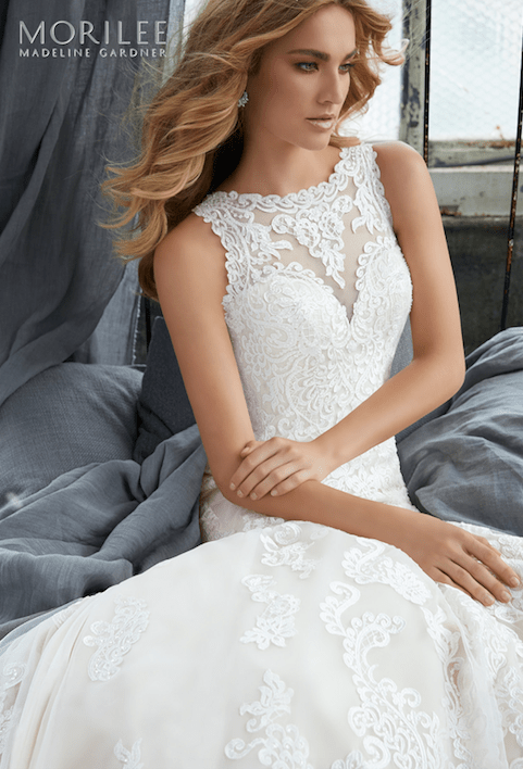 2a3039fec3be Krista Wedding Dress Romantic Fit and Flare Gown Featuring Frosted, Embroidered  Medallions and Appliqués on