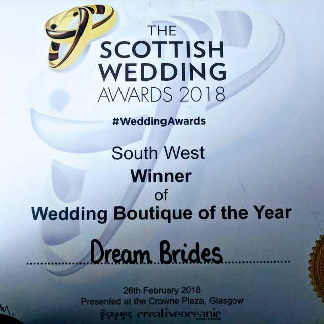 scottishweddingawards winnerswin dreambrides dreamdress bestbridalboutique