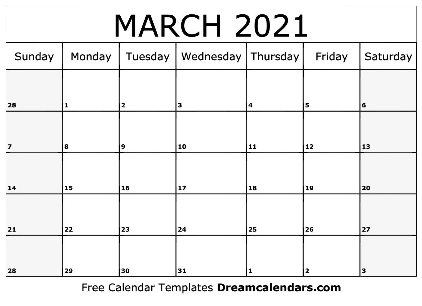 March 2021 calendar | free blank printable templates