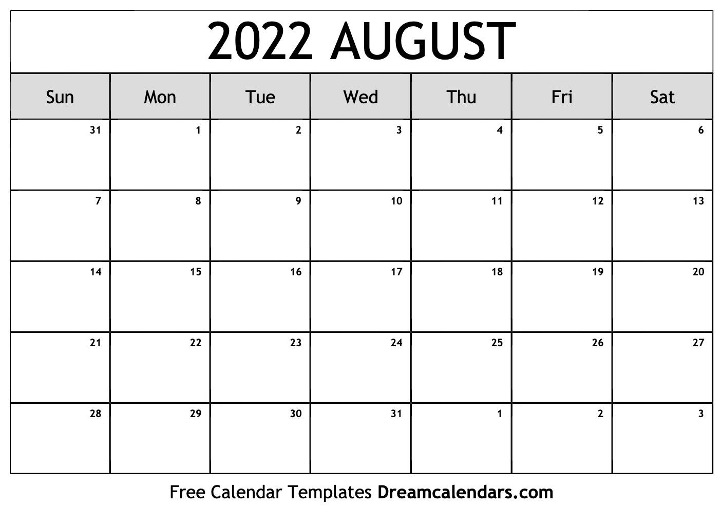 August 2022 calendar   free blank printable templates