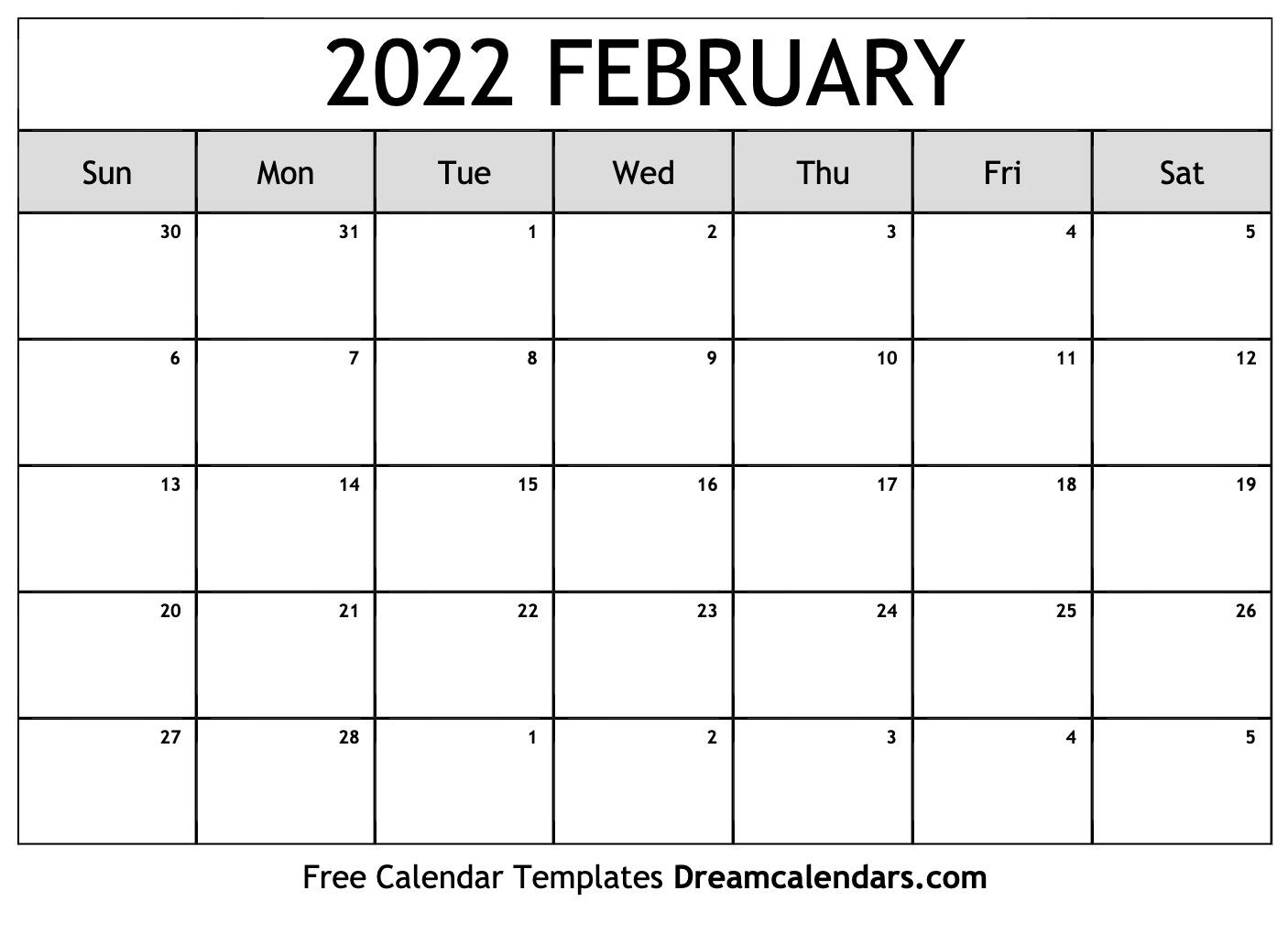 February 2022 calendar | free blank printable templates