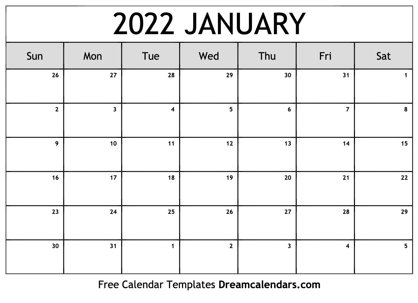 January 2022 calendar | free blank printable templates
