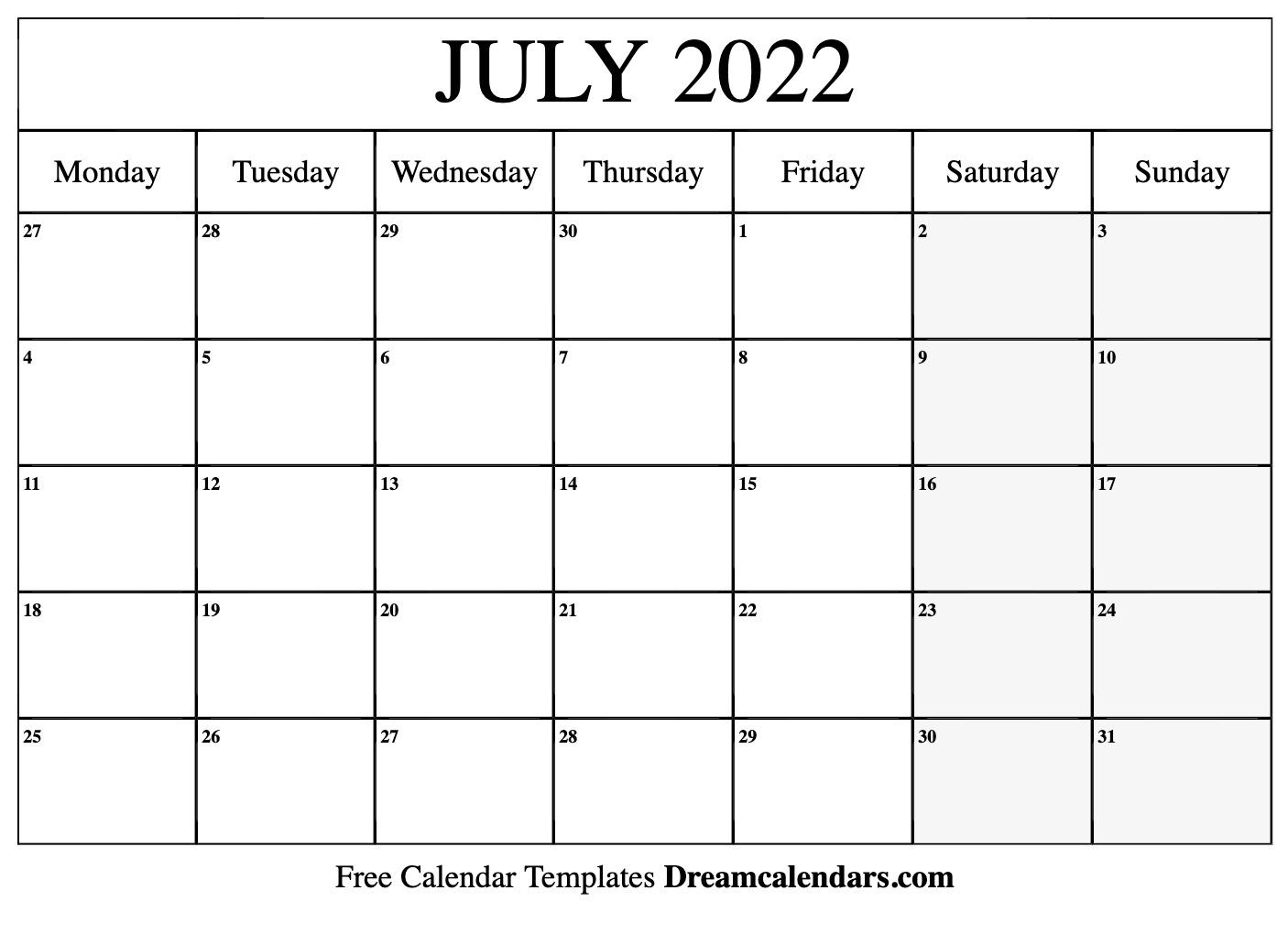 July 2022 calendar   free blank printable templates