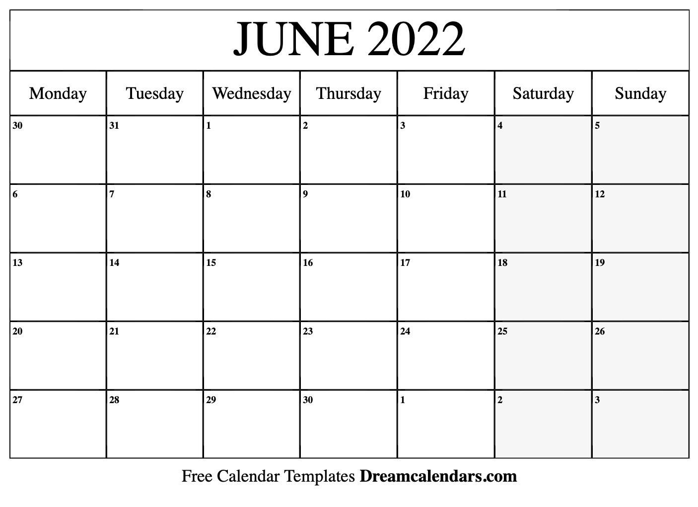 June 2022 calendar | free blank printable templates