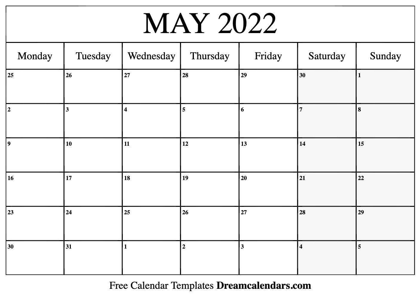 May 2022 calendar | free blank printable templates
