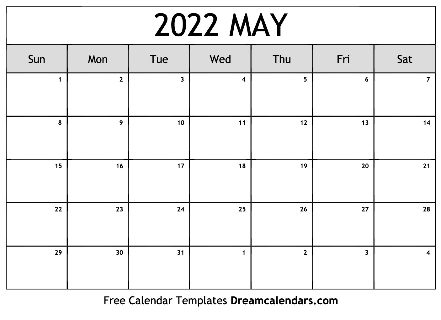 By default, a template file download goes into the downloads folder on your computer. May 2022 calendar | free blank printable templates