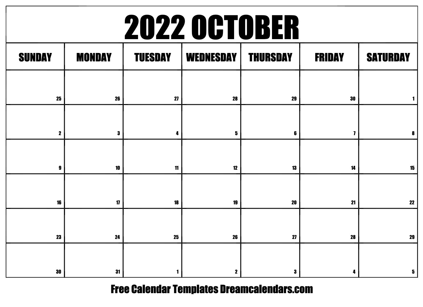 October 2022 calendar | free blank printable templates