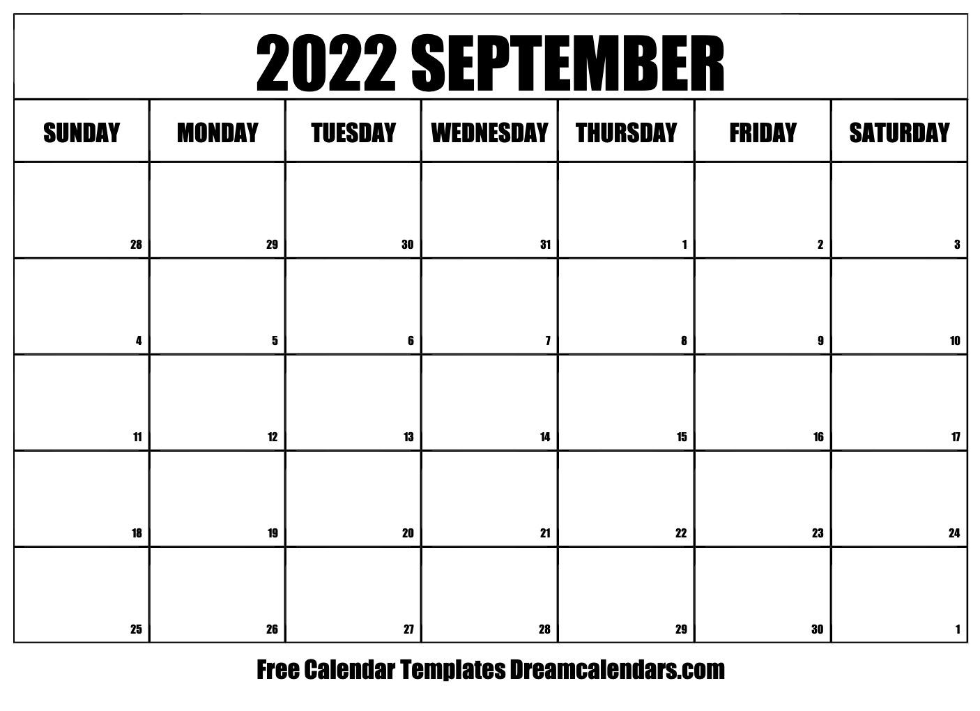 September 2022 calendar   free blank printable templates