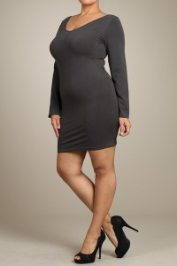 M-Rena Plus Size Long Sleeve Reversible Seamless Fitted Dress