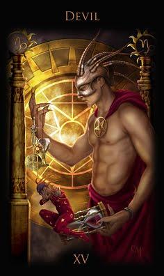 Der Teufel im Tarot. Keine Karte repräsentiert das Thema Schattenarbeit, Projektion und Verdrängung besser als diese.