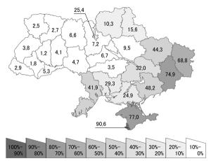 Russian speakers. Data from Ukraine census 2001. Pic credit: Alex Tora