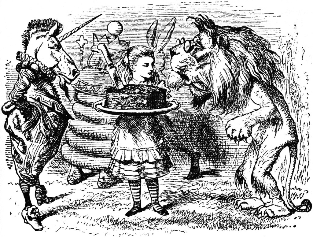 """You don't know how to manage Looking-glass cakes,"" the Unicorn remarked. ""Hand it round first, and cut it afterwards."""