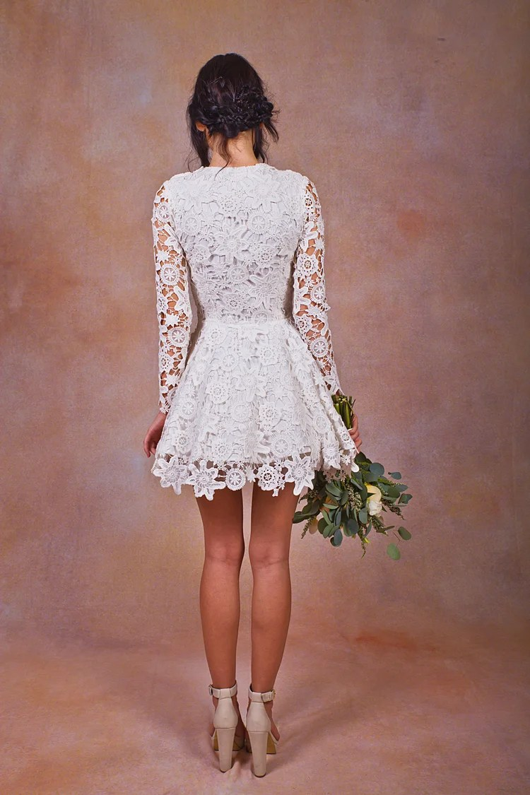 Daniela Short Lace Boho Wedding Dress  Dreamers and Lovers