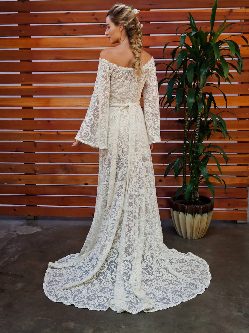 Lace Shoulder Wedding Dress
