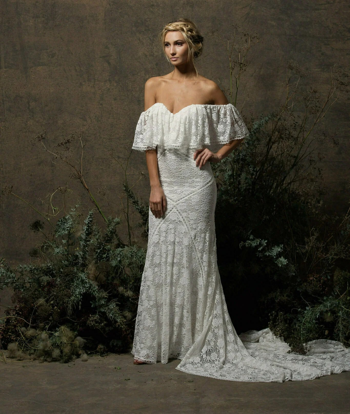 Lizzy Off Shoulder Lace Wedding Dress  Dreamers and Lovers