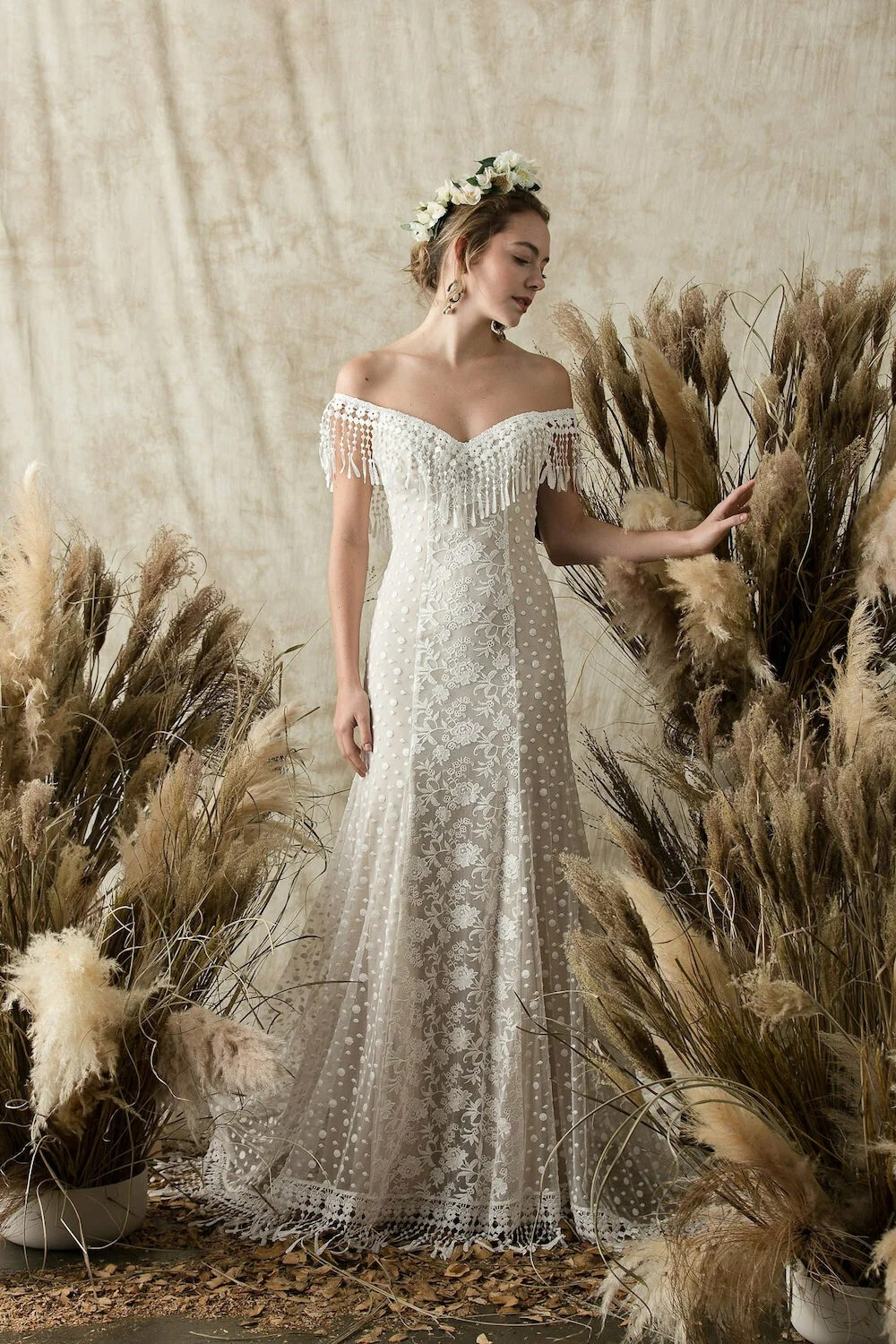 Heather Lace Bohemian Wedding Dress  Dreamers and Lovers