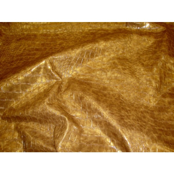 fabrics for chairs striped apartment size recliner gold metallic embossed big scales crocodile pattern upholstery vinyl fabric per yard