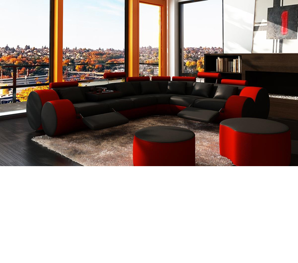 Contemporary plan offers modern sectional couch, sofa, bed, wicker outdoor patio furniture, daybed. DreamFurniture.com - 3087 - Modern Black and Red Leather ...