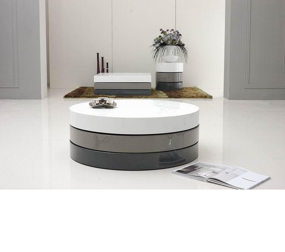DreamFurniturecom  Trio3  Lacquer 3 Tone Round Coffee