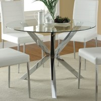 DreamFurniture.com - 120760 Round Glass Top Dining Table