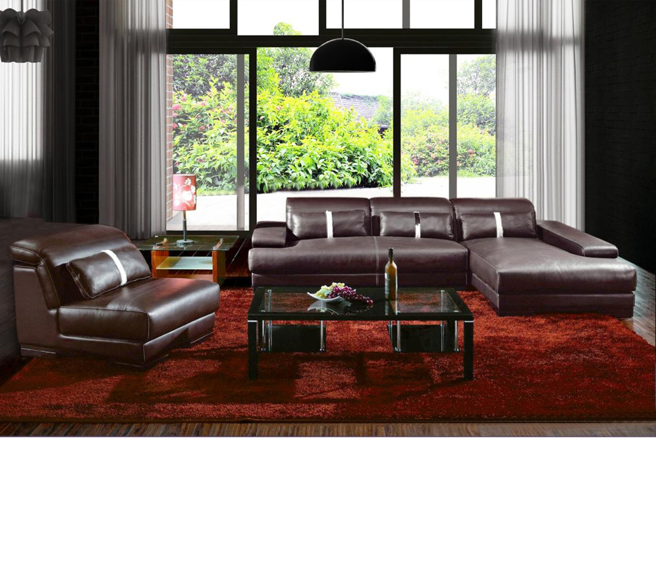 DreamFurniturecom  Boston Contemporary Leather Sectional