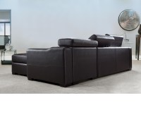 DreamFurniture.com - Flip - Reversible Leather Sectional ...