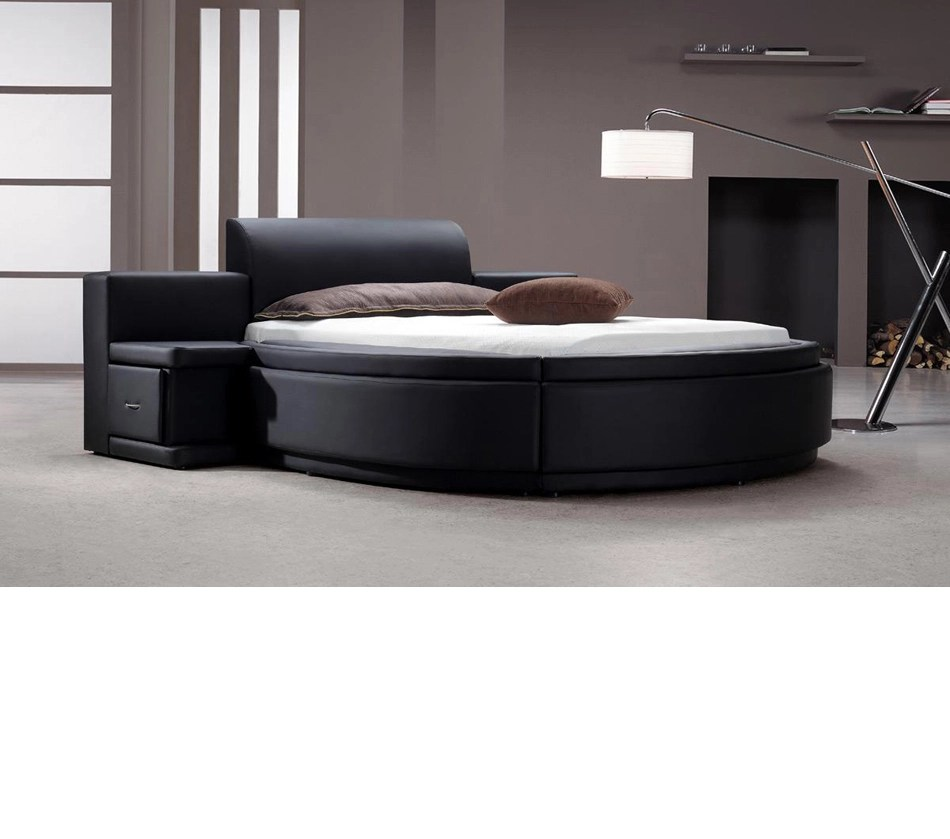 DreamFurniturecom  Owen  Black Leather Round Bed with
