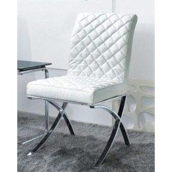 Dining Chairs With Stainless Steel Legs Beach Chair Clips Target Dreamfurniture.com - C1012 Modern White Eco-leather