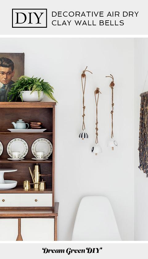 DIY Decorative Air Dry Clay Wall Bells
