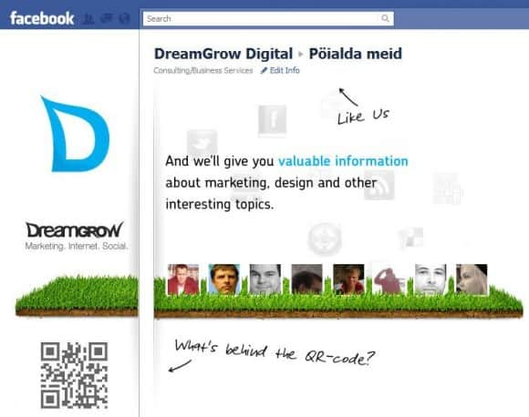 Dreamgrow Facebook landing page