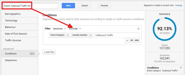 google analytics segments outbound traffic no