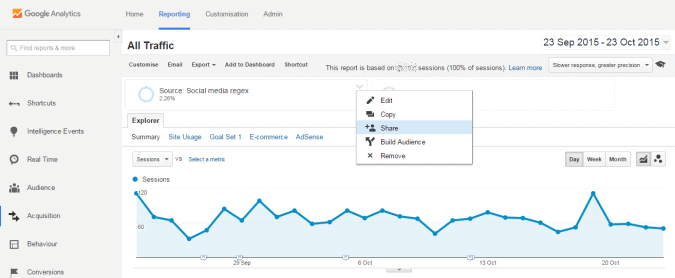 share google analytics social media segment
