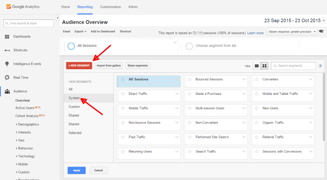 add new google analytics segment