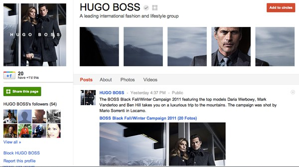hugo boss google plus page