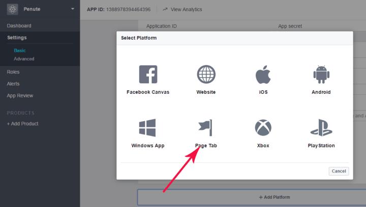 create facebook page app platform