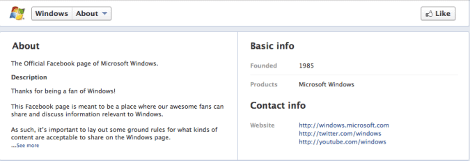 facebook timeline about page
