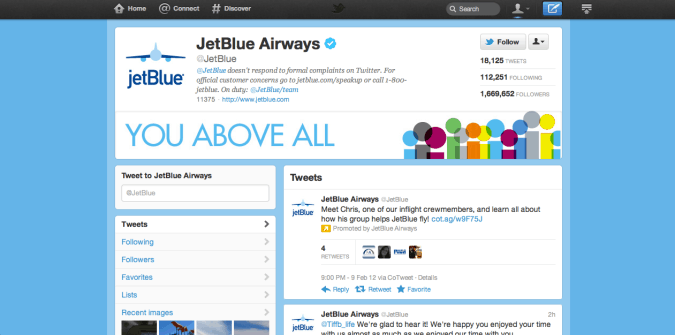 jetblue twitter brand page
