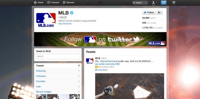 mlb twitter brand page