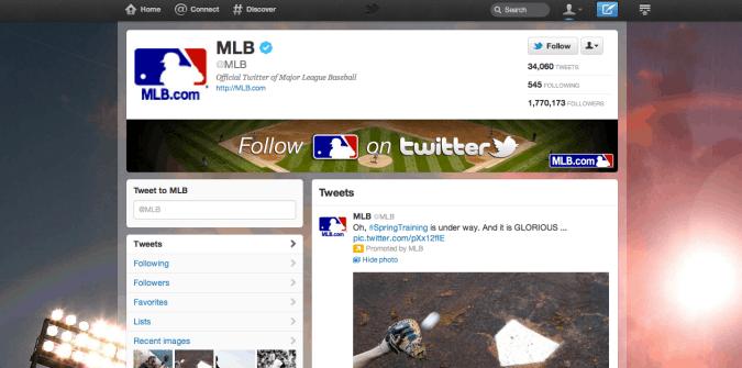 mlb twitter brand page