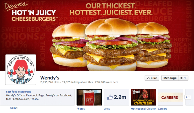 wendy's facebook cover photo