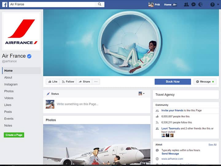 air france facebook page