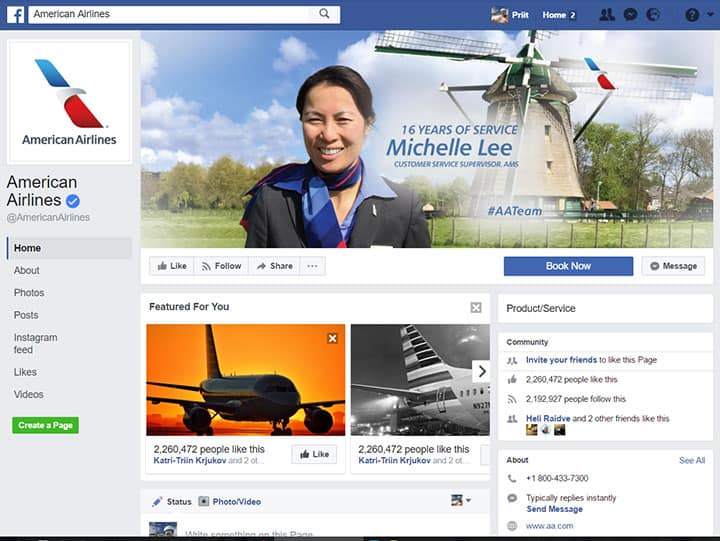 american airlines facebook page