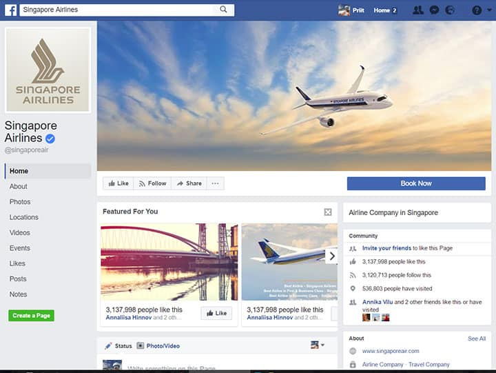 singapore airlines facebook page