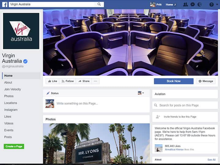 virgin australia facebook page