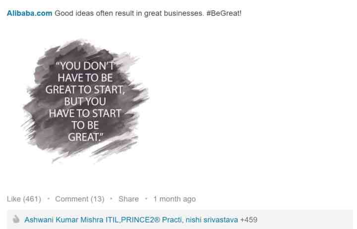 LinkedIn inspiring content Alibaba