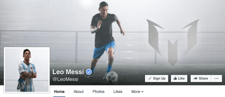 leo messi facebook page design